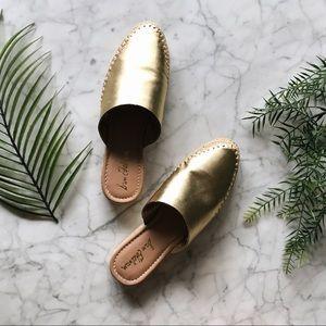 New Sam Edelman Gold Espadrille Mules Slip On